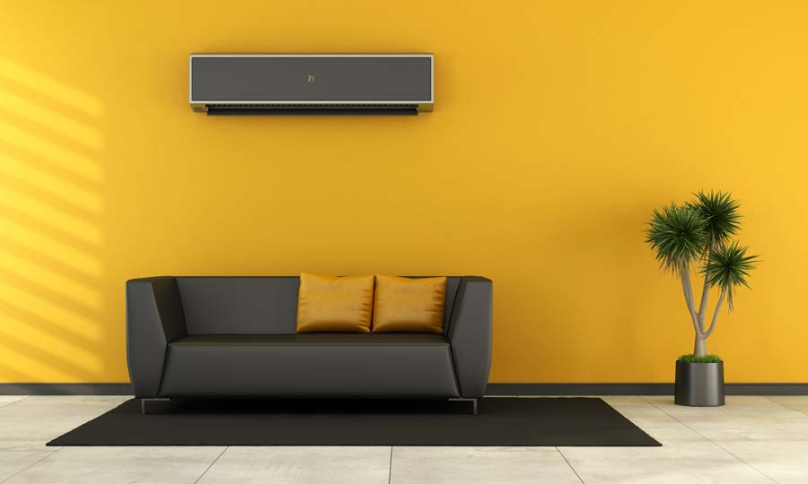 Modern living room with black couch and air conditioner on wall as a 3d rendering.