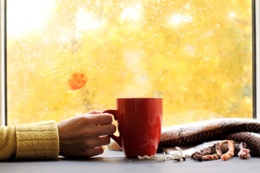 red mug of hot drink, when behind a window is rain in autumn in Hudson, MA